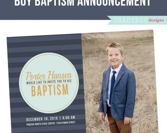LDS Baptism Invitation, Boys Baptism Announcement, Blue, It's Great to be 8, Photoshop File, customization available read in description