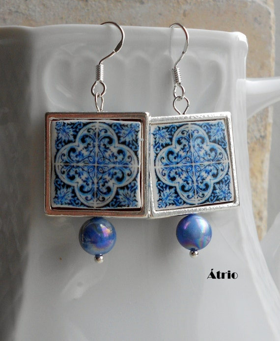 Portugal  Antique Azulejo Tile Replica 925 SILVER FRAMED Earrings, AvEIRO Blue and Porto Miragaia  - waterproof and reversible 761 SF