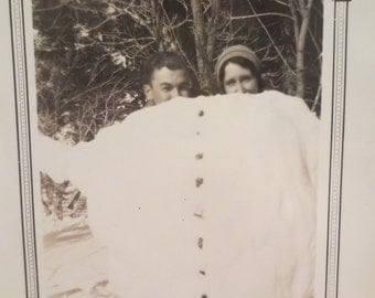 Vintage Photo 1920s Man and Woman posing in a Snowman  Americana history
