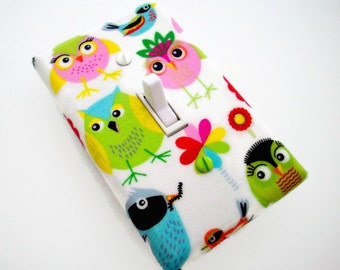 Owl Light Switch Cover - Owl Switch Plate - Colorful Birds Switchplate - Girls Owl Nursery Decor - Owl Outlet Cover - Girls Bedroom Decor