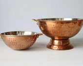 Large Vintage Copper Colander with Brass Handles / Vintage Copper Colander / Copper Strainer / Pair of Two