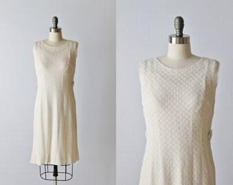 Vintage 1960s Lace Sheath Dress / Off White Lace Dress / 1960s Dress / Size Small