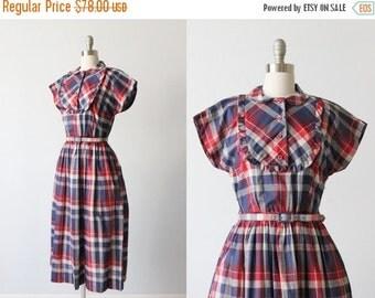 SALE Vintage 1950s Dress / 50s Dress / Plaid Dress / Ruffles and Tucks