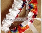Satin Skirted Satin Bridal Garter Set in red dominant tie dye/white bow...Custom Colors Available