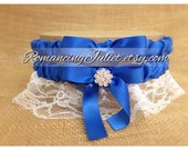 Lovely Vintage Style White Lace Garter Set with Royal Blue and Vibrant Crystal Accents...