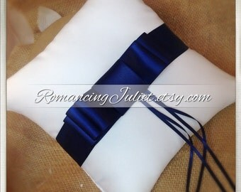 Triple Bow SATIN Ring Bearer Pillow...You Choose Your Colors..Buy One Get One Half Off...shown in white/navy blue