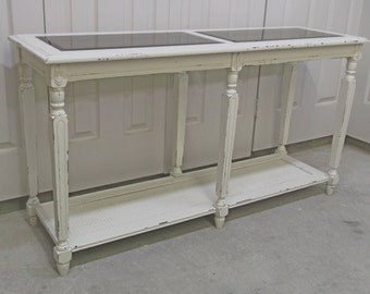 Console / Sofa Table, Distressed White Cottage Style  - TB404 Shabby Farmhouse Chic