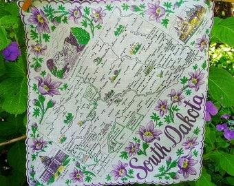 Vintage SOUTH DAKOTA State Hankie Handkerchief, Franshaw, White - Purple Pasque Prairie State Flowers
