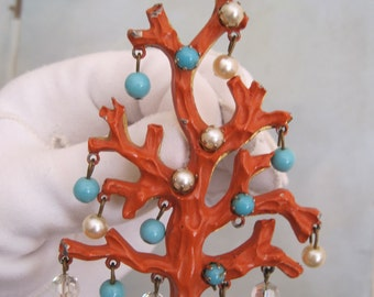 RARE Mid Century Faux Coral Branch Brooch Pin Italian Italy Pearl Turquoise