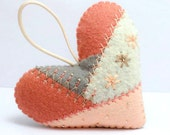 Crazy Quilt Felt Heart Ornament