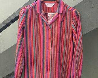 70s stripe bright multi color pink blouse retro hippie Size Small