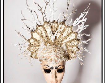 Caught In The Headlights… Deer Headdress in Cream and Brown