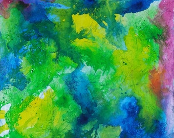 Original abstract painting, bright happy colors, ink and line art intuitive art process painting, workplace art colorful wall art
