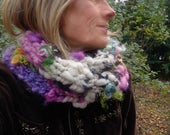 RESERVED - hand knit soft art yarn patchwork flower scarf - enchanted garden scarf