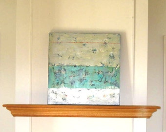 """SALE, Turquoise acrylic Abstract painting canvas, Wall decor, Shabby Beach cottage, 24"""" x 24"""", stencil numbers, Home and living, gift idea"""