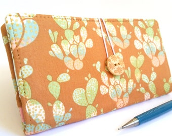 Cactus CHECKBOOK COVER in Caramel Brown Green Blue Pink - Succulent