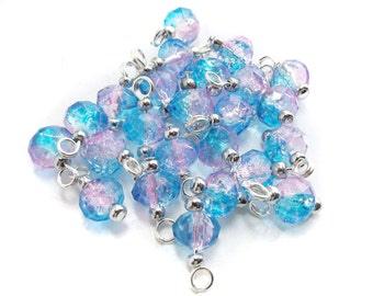 Two-tone Pastel Crystal Glass Bead Charms - Set of 10 Pre-wired Dangle Beads- pink & blue bead dangles handmade jewellery making supplies UK