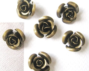 10 pcs 13mm - Vintage brass rose flower beads/caps (Nickel Free) (CAP-049)