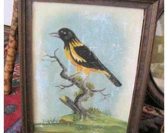 Surprise SALE - Antique Painting Folk Art Bird