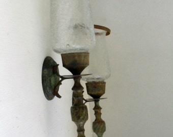 Pair of Metal and Glass Wall Sconces