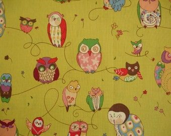 OWL FABRIC Alexander Henry Fabric Tsukiyo Owls VERY Rare 2006 - 1 Yard - #KR22