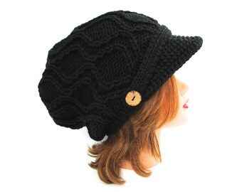 Black Newsboy Hat with Buttons - Cable Knit Cap - Women's Hat - Brimmed Beanie - Visor Hat - Slouchy Beanie - Knit Accessories