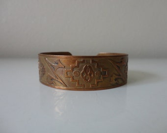 VINTAGE stamped southwestern style COPPER CUFF