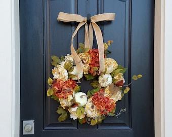 FALL WREATH, Thanksgiving Wreath, Front Door Wreath, FALL Home Decor, Hydrangea Wreaths, Autumn Wreath, Fall Home Decor, Wreaths for Fall