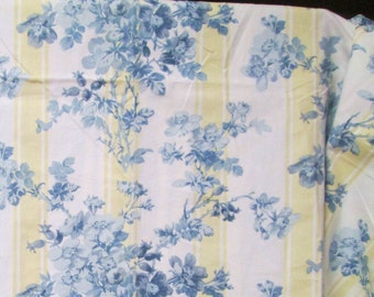 Ralph Lauren 2.8 yd Fabric Home Decor Remnant Floral Stripe for Tote Pillow Covers Apron Burgess Park Blue Pale Cream Yellow Sample