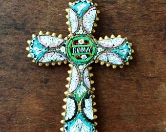 Vintage Cross with Micro Mosaic pattern from Rome