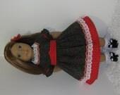 Christmas Civil War Walking Dress, Fits 18 Inch American Girl Dolls