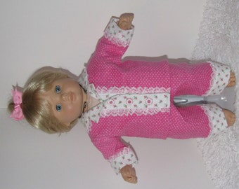 Hot Pink Flannel Pajamas, Fits 15 Inch American Girl Bitty Dolls