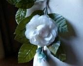 Silk Gardenia Spray in Ivory Blush for Millinery, Bridal, Home Decor