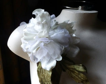 SALE Ivory Silk Peony in Velvet & Organdy Millinery Flower for Bridal,  Fascinators, Hats, Bouquets