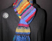 Handwoven Scarf. Painted Desert. Blue, Gold, Red, Green