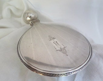 """Sterling Silver Hand Mirror R. Wallace and Sons Engraved Monogram """"M"""""""