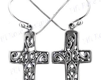 """13/16"""" Bali Cast 925 Sterling Silver Cross Earrings"""