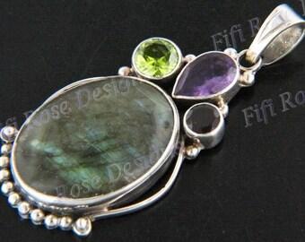 "2 7/16"" Design Labradorite Peridot Amethyst 925 Sterling Silver Pendant"