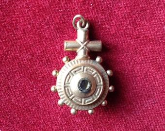 Gorgeous antique french religious stanhope cross pendant, amulet, talisman