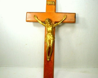 Wood Wall Crucifix,  Christian Religious CROSS, Brass Colored Corpus, 1960s Catholic Christian, Used, LOved, Needed