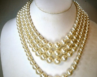 Mad Men White 4 Strand Pearl Necklace, Dramatic Hollywood Style, Adjustable Length, Graduated 1980s