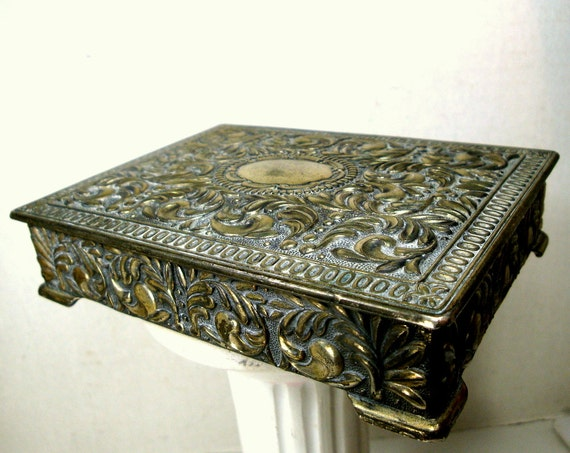 Ornate heavy metal jewelry box japan shabby by for Jewelry box with initials
