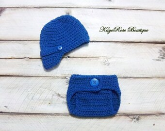 Newborn to 3 Month Old Baby Boy Newsboy Hat and Diaper Cover Set Blue