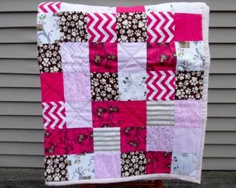 Baby Quilt - Baby Blanket - Baby Girl Quilt - Pink Baby Blanket - Patchwork Quilt - Dog Baby Quilt - Baby Girl Nursery - Nursery Bedding
