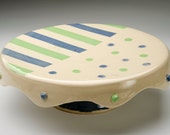Bubbles and Stripes Cake Plate - Serving Cake Plate - Cupcake Platter - Pottery Cake Serving Stand - Food Safe