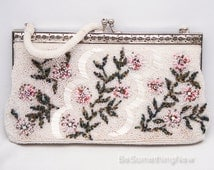 Vintage Floral Beaded Wedding Clutch, Ivory Beaded Purse with Pink Flowers, Vintage Beaded Formal Hand Bag with Handle