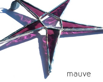 Mauve Stained Glass Star Suncatcher