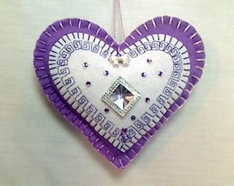 Lavender Felt Heart Ornament | Valentine's Day | Holidays | Party Favor | Bridal Wedding | Tree Ornament | Decoration | Heart Decor | #1