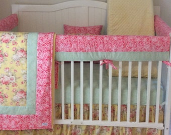 Baby Girl Crib Bedding Set Bumperless Coral Mint and Yellow Floral