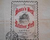Santa fabric, Christmas fabric, novelty fabric, feed sack fabric, Santa Claus fabric, sewing supplies, fabric supplies, pillow panel, fabric
